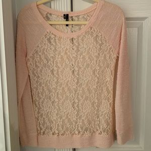 pink floral see through sweater